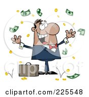 Royalty Free RF Clipart Illustration Of A Successful Hispanic Businessman Standing Under Falling Money