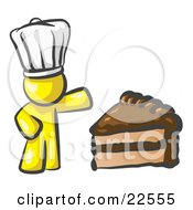 Clipart Illustration Of A Yellow Chef Man Wearing A White Hat And Presenting A Tasty Slice Of Chocolate Frosted Cake