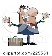 Royalty Free RF Clipart Illustration Of A Happy Black Businessman Holding His Arms Up By A Briefcase