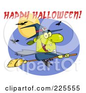 Royalty Free RF Clipart Illustration Of A Green Witch Flying On Her Broomstick With Bats A Full Moon Purple Oval And Happy Halloween Text