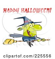 Royalty Free RF Clipart Illustration Of A Green Witch Flying On Her Broomstick With Red Happy Halloween Text