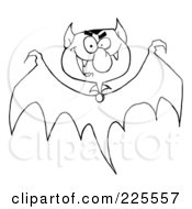 Royalty Free RF Clipart Illustration Of A Coloring Page Outline Of A Bat With A Vampire Head by Hit Toon