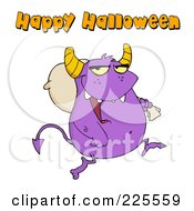Royalty Free RF Clipart Illustration Of Happy Halloween Text Over A Purple Monster Carrying A Sack Over His Shoulder