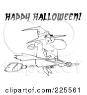 Royalty Free RF Clipart Illustration Of A Coloring Page Outline Of A Witch Flying On Her Broomstick With Happy Halloween Text