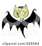 Royalty Free RF Clipart Illustration Of A Bat With A Green Vampire Head