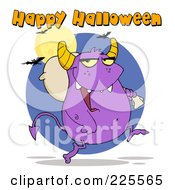 Royalty Free RF Clipart Illustration Of Happy Halloween Text Over A Purple Monster Carrying A Bag Over His Shoulder