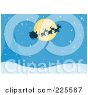 Royalty Free RF Clipart Illustration Of A Silhouette Of Santa And Flying Reindeer In Front Of A Full Moon Over A Blue Snowy Landscape by Hit Toon