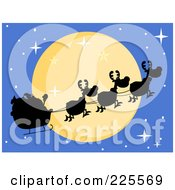 Royalty Free RF Clipart Illustration Of A Silhouette Of Santa And Magic Reindeer In Front Of A Full Moon In A Blue Sky by Hit Toon