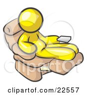 Clipart Illustration Of A Chubby And Lazy Yellow Man With A Beer Belly Sitting In A Recliner Chair With His Feet Up by Leo Blanchette