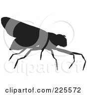 Royalty Free RF Clipart Illustration Of A Silhouetted Black Wasp 2