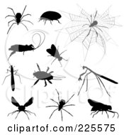 Royalty Free RF Clipart Illustration Of A Digital Collage Of Creepy Silhouetted Insects by KJ Pargeter