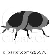 Royalty Free RF Clipart Illustration Of A Silhouetted Black Scarab Beetle