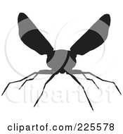 Royalty Free RF Clipart Illustration Of A Silhouetted Black Wasp 1