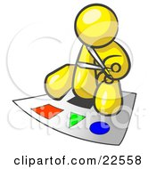 Yellow Man Holding A Pair Of Scissors And Sitting On A Large Poster Board With Colorful Shapes by Leo Blanchette