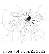 Royalty Free RF Clipart Illustration Of A Silhouetted Black Spider On A Web