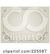 Antique Beige Frame With Ornate Corners And Copyspace