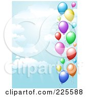 Royalty Free RF Clipart Illustration Of A Party Background Of Colorful Balloons In A Blue Sky With Rays Of Light And Clouds by KJ Pargeter