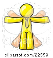 Clipart Illustration Of A Man In Motion Yellow Vitruvian Cartoon Man by Leo Blanchette