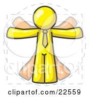 Man In Motion Yellow Vitruvian Cartoon Man