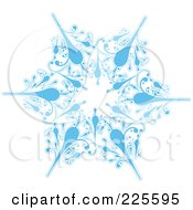 Royalty Free RF Clipart Illustration Of An Ornate Icy Blue And White Snowflake Design 1