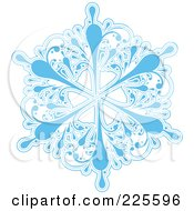Royalty Free RF Clipart Illustration Of An Ornate Icy Blue And White Snowflake Design 3
