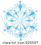 Royalty Free RF Clipart Illustration Of An Ornate Icy Blue And White Snowflake Design 2