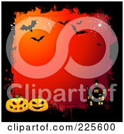 Royalty Free RF Clipart Illustration Of A Gradient Red Halloween Background With A Haunted House Pumpkin And Bat Grungy Border by KJ Pargeter