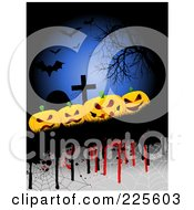 Royalty Free RF Clipart Illustration Of A Halloween Background Of Evil Pumpkins By Tombstones With Drips Webs Bats And A Bare Tree by KJ Pargeter