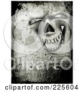 Royalty Free RF Clipart Illustration Of A Grungy Creepy Laughing Skull Face With Cement Texture
