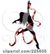 Royalty Free RF Clipart Illustration Of A Graceful Silhouetted Woman Dancing With A Red Ribbon by KJ Pargeter