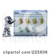 Royalty Free RF Clipart Illustration Of A 3d Robot Standing And Presenting A Computer Window by KJ Pargeter