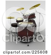 Royalty Free RF Clipart Illustration Of A 3d Drumset And Sticks