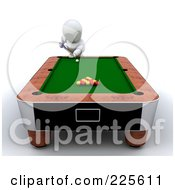 Royalty Free RF Clipart Illustration Of A 3d White Character Leaning Over A Pool Table