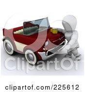 Royalty Free RF Clipart Illustration Of A 3d White Character Washing Or Waxing A Classic Converitble Car