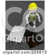 Royalty Free RF Clipart Illustration Of A 3d Construction Worker By A Manhole by KJ Pargeter