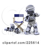 Royalty Free RF Clipart Illustration Of A 3d Robot Holding A Clapperboard And Standing By Film Reels And A Directors Chair