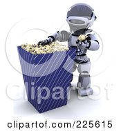 Royalty Free RF Clipart Illustration Of A 3d Robot Eating From A Large Popcorn Container