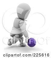 Royalty Free RF Clipart Illustration Of A 3d White Character Releasing A Blue Bowling Ball by KJ Pargeter