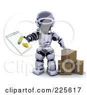 Royalty Free RF Clipart Illustration Of A 3d Robot Standing With Parcels And Holding Out A Clipboard