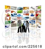 Royalty Free RF Clipart Illustration Of A Silhouetted Couple And Disabled Person Watching A Display Of Screens by KJ Pargeter