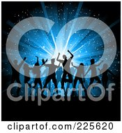 Royalty Free RF Clipart Illustration Of Silhouetted Dancing People Over A Blue Star Burst Christmas Background