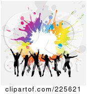 Royalty Free RF Clipart Illustration Of Silhouetted Jumping Adults Against A Gray Background With Colorful Splatters