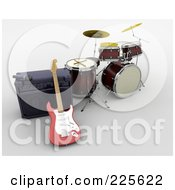 Royalty Free RF Clipart Illustration Of A 3d Guitar Against A Speaker By Drums by KJ Pargeter