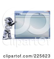 Royalty Free RF Clipart Illustration Of A 3d Robot Standing And Presenting A Blank Internet Browser
