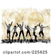 Royalty Free RF Clipart Illustration Of Silhouetted Dancing People Over A Gold Halftone Christmas Background With Grunge And Snowflakes