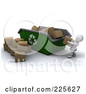 Royalty Free RF Clipart Illustration Of A 3d White Character Tossing Cardboard Boxes Into A Giant Recycle Bin