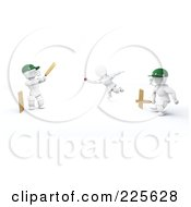 Royalty Free RF Clipart Illustration Of A 3d Team Playing Cricket by KJ Pargeter