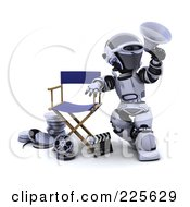 Royalty Free RF Clipart Illustration Of A 3d Robot Leaning On A Directors Chair Over Film Reels And A Clapper Board Announcing With A Megaphone