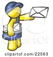 Yellow Mail Man Delivering A Letter