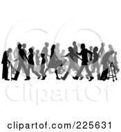 Royalty Free RF Clipart Illustration Of A Busy Sidewalk Scene Of Children Adulds And Elderly Silhouettes